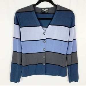 Saint Tropez Wear Striped Button Front Cardigan M
